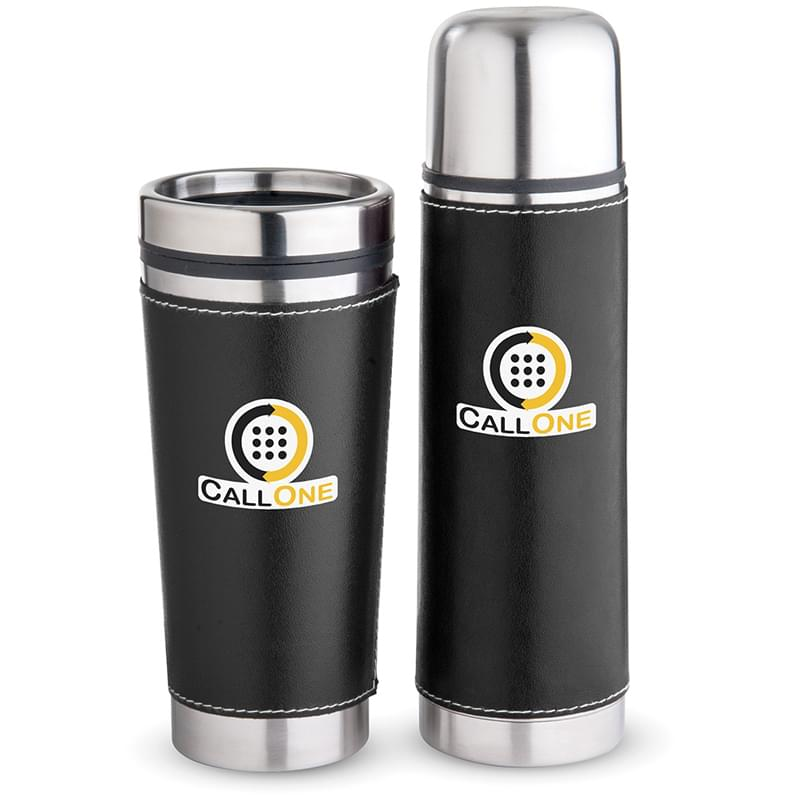 Leatherette Tumbler/Vacuum Bottle Set