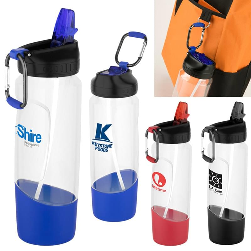 Tritan Water Bottle with Carabiner - 28 Oz.