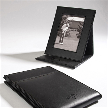 "Callaway 3-1/2"" x 2-1/2"" Leather Fold-Up Picture Frame"