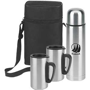 Stainless Steel Vacuum Bottle with Two 8oz Cups Gift Set