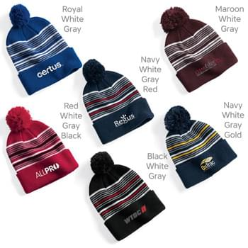 "Sportsman 12"" Striped Pom-Pom Knit Cap"