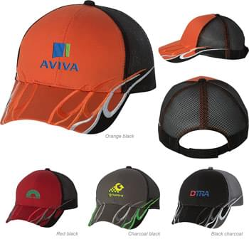 Outdoor Cap Flame Mesh Back Cap
