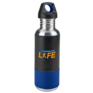 27 oz. 2-Tone Leatherette sleeve Stainless Water Bottle